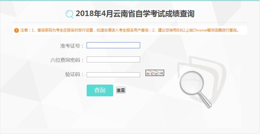 2018年云南普洱4月份成绩查询